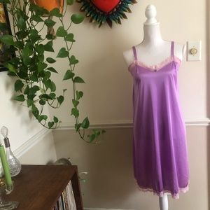 60s Vintage Lavender Slip with Pink Lace